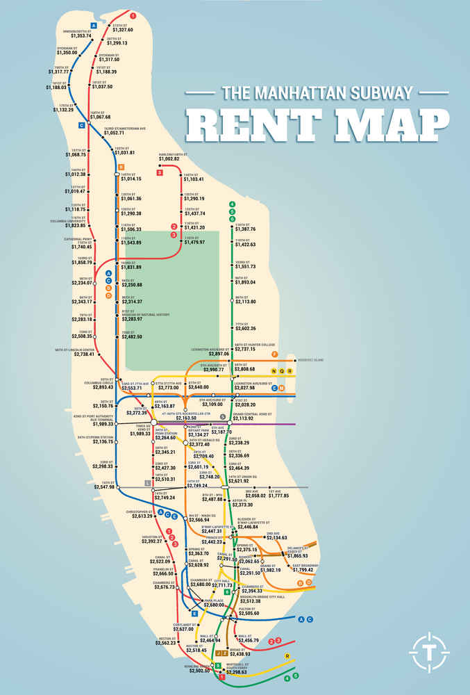 Subway Map Manhattan With Streets.Manhattan Subway Rent Map Thrillist