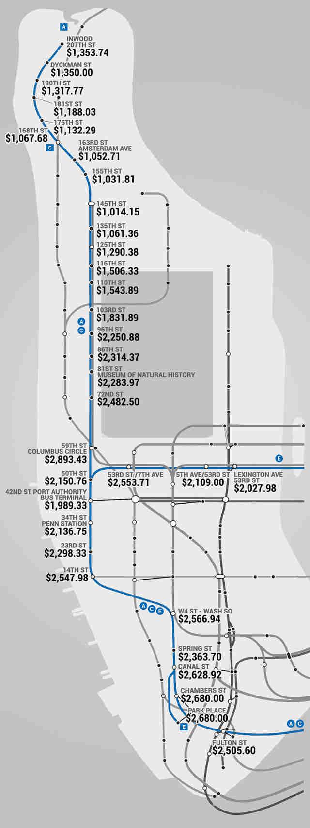Subway Map From 88 St To 59th Street.Manhattan Subway Rent Map Thrillist