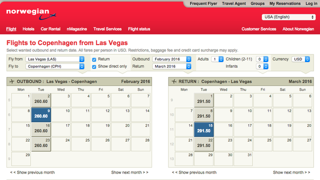 Norwegian Airlines Round Trip Flights From Las Vegas To