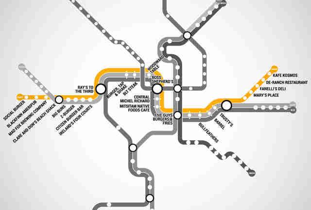 The Washington DC Metro Burger Map Burgers At Every Metro Stop