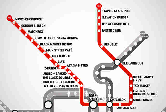 The Washington Dc Metro Burger Map Burgers At Every Metro Stop