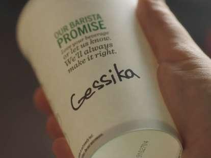 Mispelled Starbucks cup