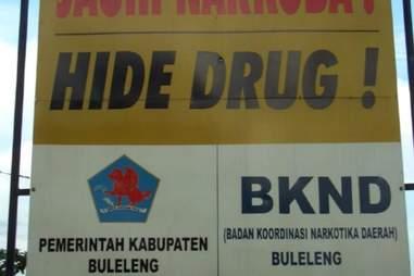 Indonesia drug sign
