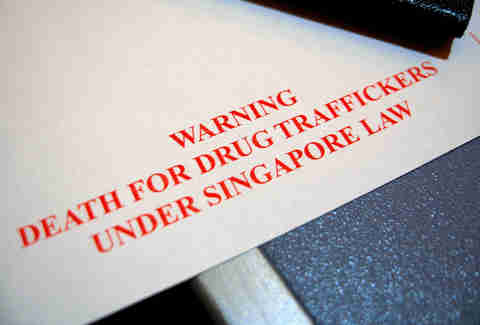 Singapore Drug smuggling sign