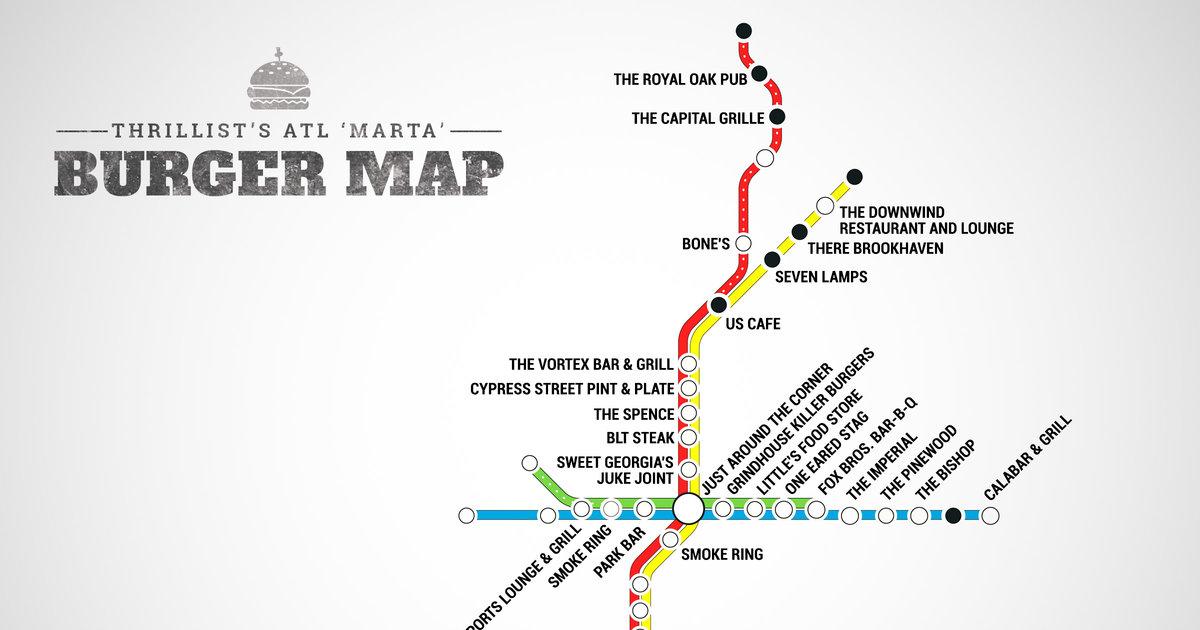 ATLs First Burger Transit Map The Best Burger In Atlanta At - Burger joint us map
