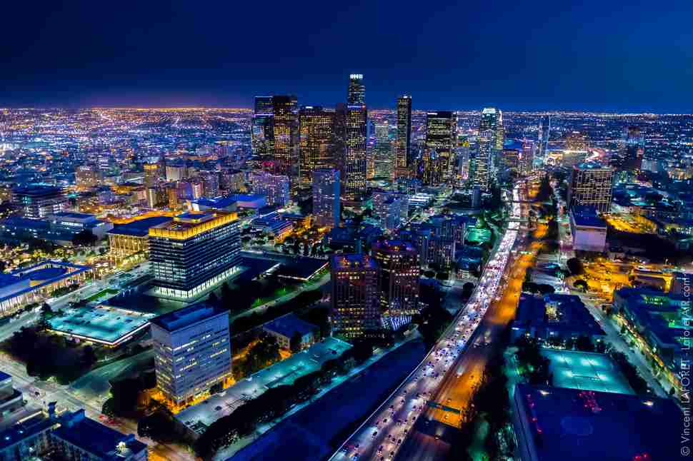 See LA Dazzle From Above In These Incredible Nighttime Aerial ...