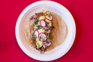pig prawn taco