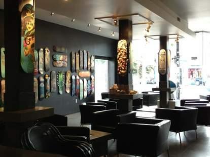 interior of twenty-two wine bar and art gallery in charlotte north carolina