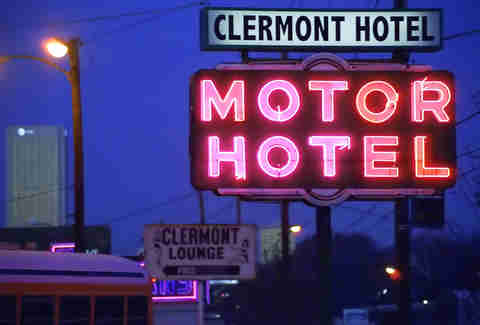 Clermont hotel neon sign