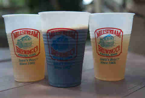 Millstream Brewing Co beers in cups