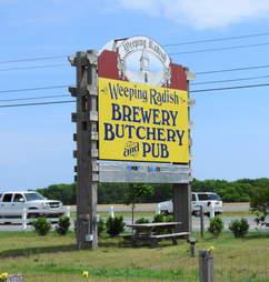 Weeping Radish Brewery, Butchery & Pub sign