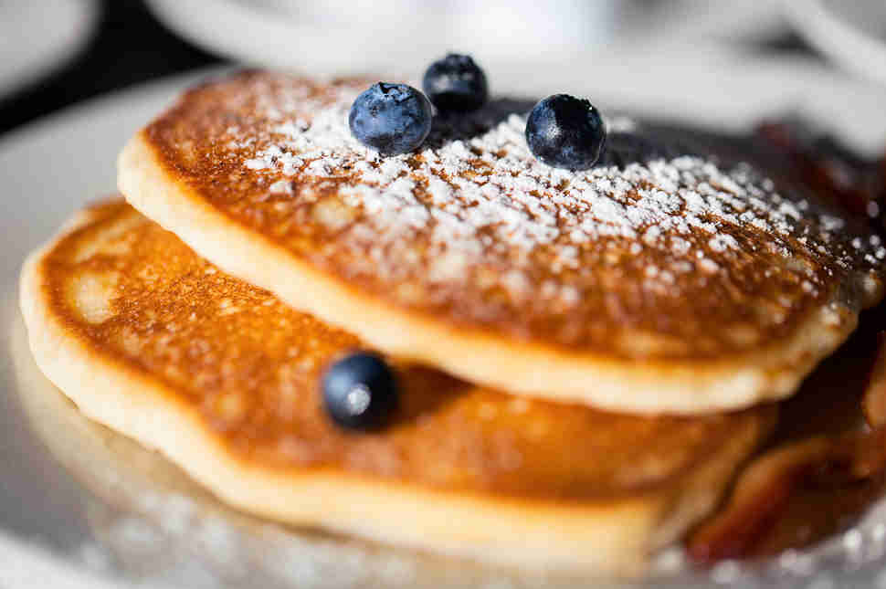 Close up of blueberry pancakes
