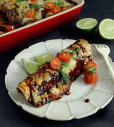 Honey BBQ chicken enchiladas