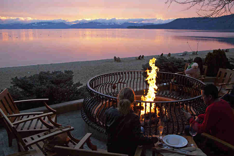 Bonfire overlooking Lake Tahoe