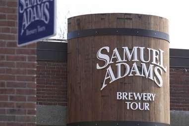 Sam Adams brewery tour sign