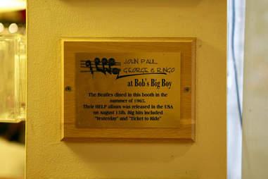 Beatles Bob's Big Boy plaque
