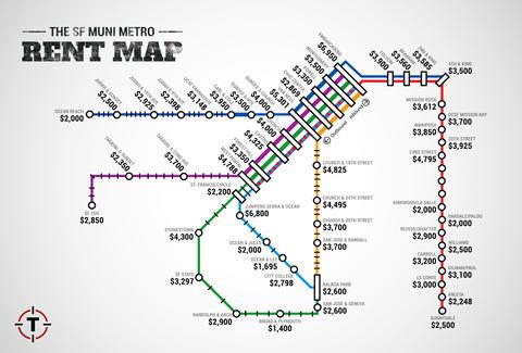 San Francisco Muni Metro Map.Sf Muni Metro Rent Map Thrillist