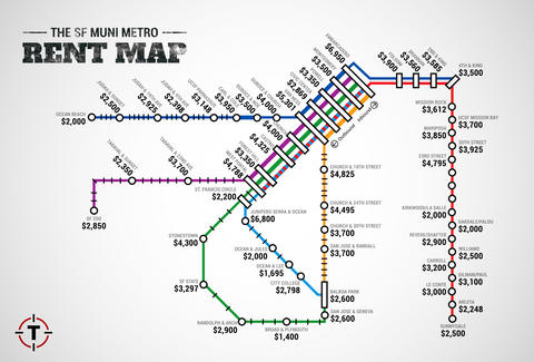 Muni Map Sf SF Muni Metro Rent Map   Thrillist Muni Map Sf