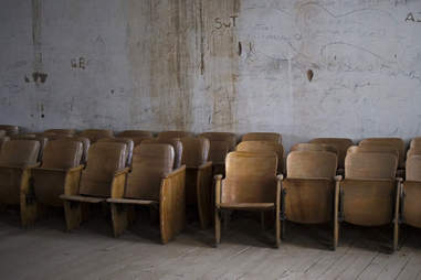 Empty chairs in Belmont, Nevada