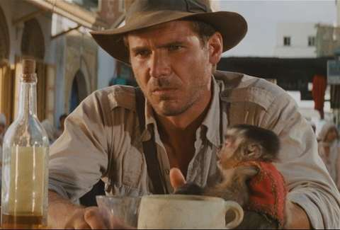 Indiana Jones with booze and monkey