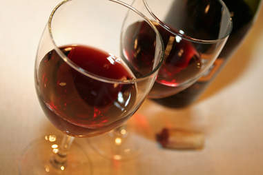 Closeup of red wine