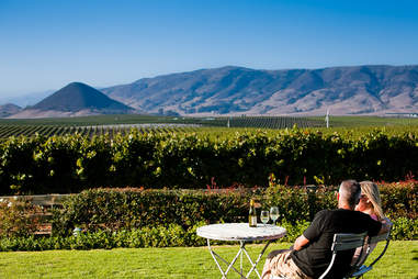 Couple sitting in front of vineyard