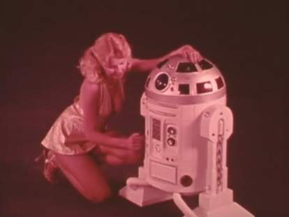 R2D2 knockoff with woman