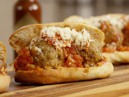 Cheesy Meatball Sandwiches with Chipotle Tomato Sauce