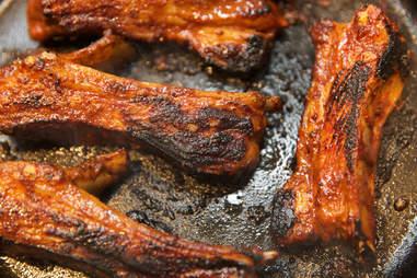 Lamb ribs closeup