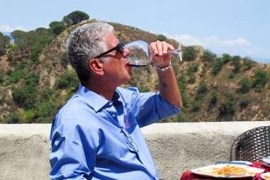 Anthony Bourdain drinking