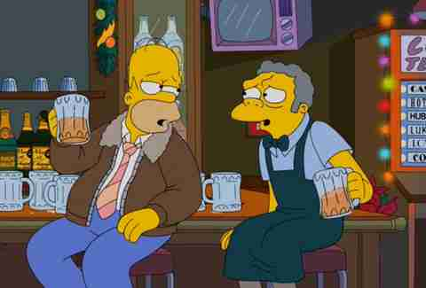 Homer and Moe drinking at Moe's Tavern