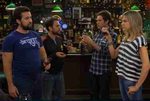 Mac, Charlie, Dennis, and Dee toasting before CharDee MacDennis