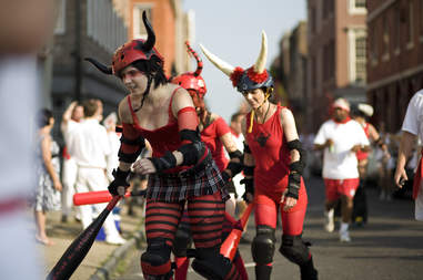 Derby girls with horns