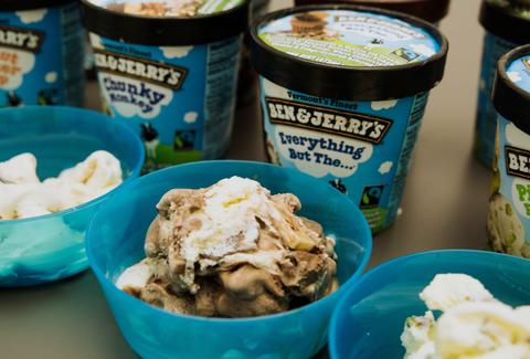 Ben & Jerry's pints and ice cream in bowls