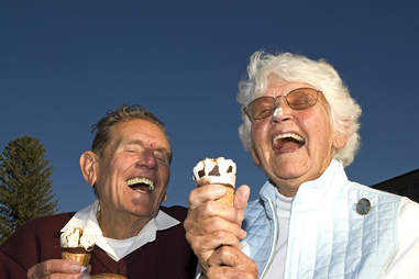 Old couple eating ice cream