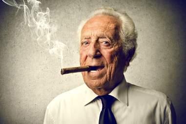 Old man smoking cigar