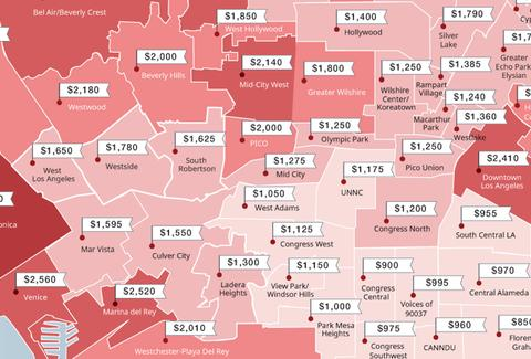 Map Of Cheapest And Most Expensive Rents In Los Angeles Thrillist - Us cities most expensive rent map