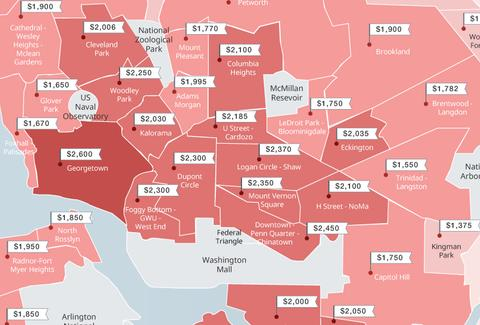 Map Of Dc Neighborhoods This Map Shows the Increasingly Sky High Rents Across DC
