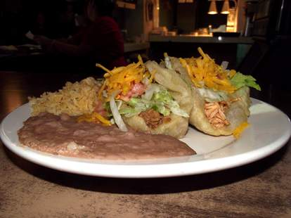 chalupas with fried beans and rice