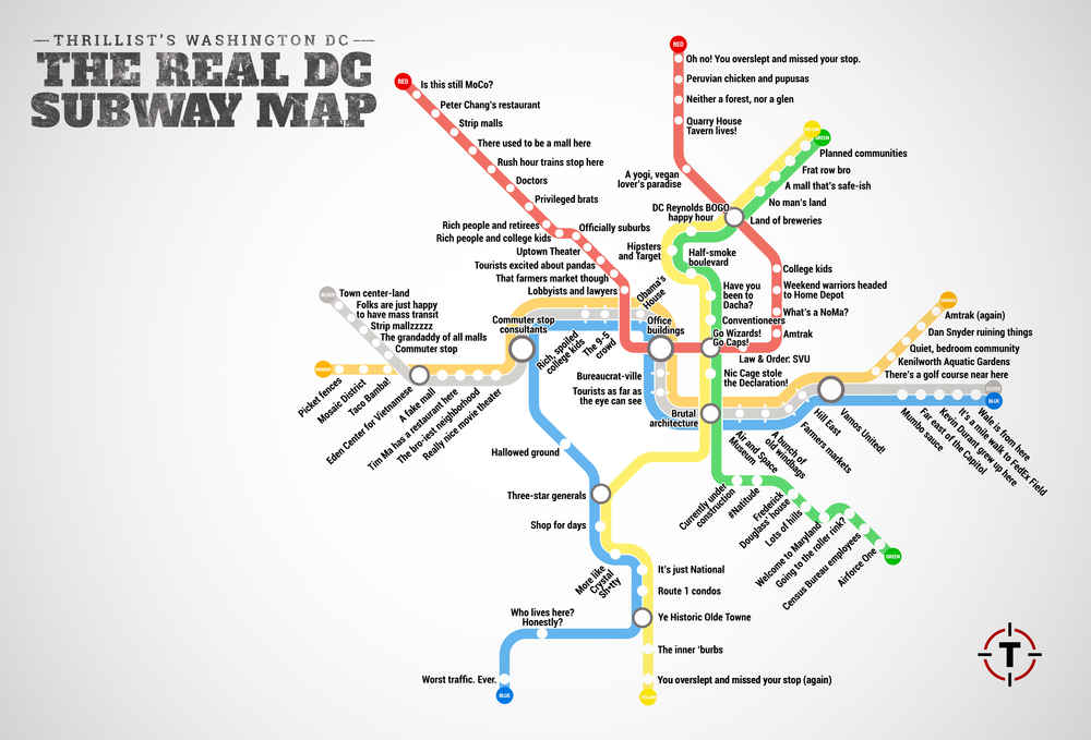 Judgmental Washington DC Metro Map - Thrillist on