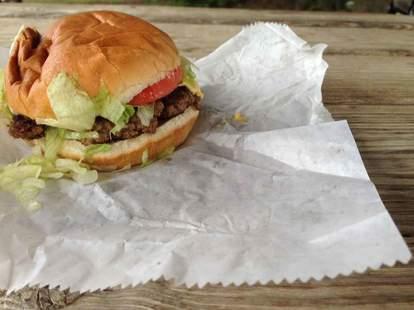 burger from brooks sandwich house