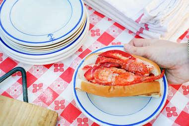 Closeup of proper lobster roll