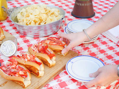 Lobster rolls on a table
