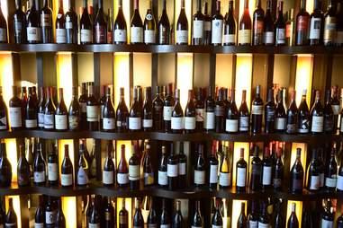 wine bottles on the shelf at 360 wine bar bistro