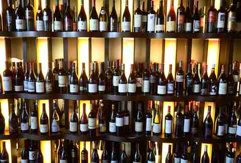 wine bottles on the shelf at 360 wine bar bistro
