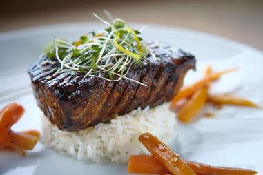 Steak on rice close up