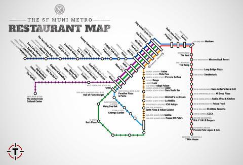 San Francisco Muni Metro Map.Sf Muni Metro Restaurant Map Best Food Near Stops Thrillist