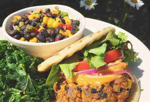black bean burger and bowl