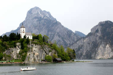 Salzkammergut, Austria, mountain range, cliff, boat, alpine lake