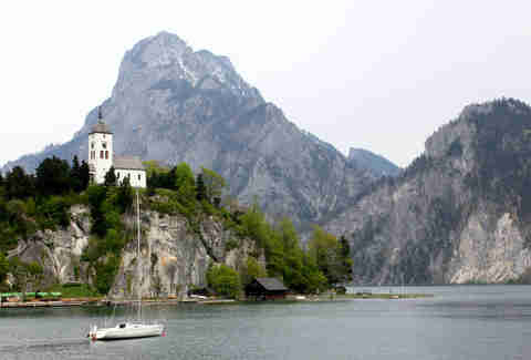 Salzkammergut, Austria, mountain range, cliff, boat, alpine lake